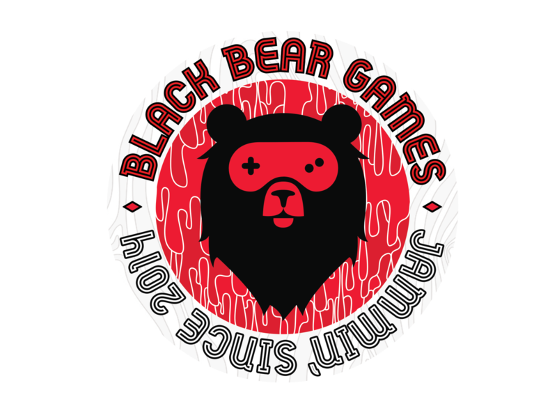 Black Bear Games Sticker vector badge branding logo gamepad bear gaming games sticker