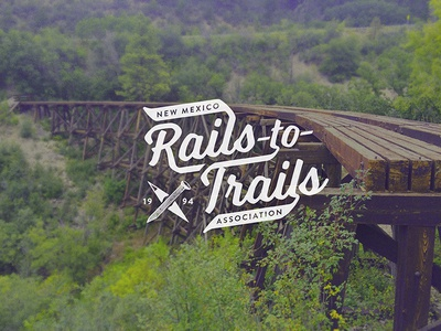 Rails To Trails Logo Draft logo vintage railroad nonprofit script outdoors hiking hike compass badge new mexico