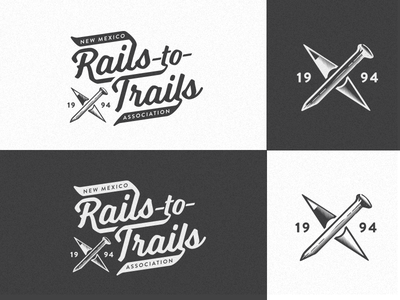 NM Rails-to-Trails Logo positive/negative rails-to-trails logo vintage hiking hike outdoors new mexico
