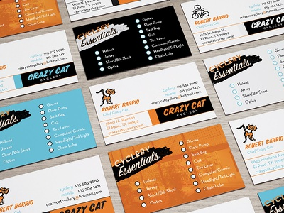 Crazy Cat Cyclery Cards stationery bicycle bike card business cyclery cat crazy