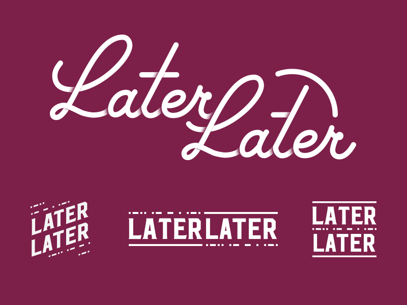 LaterLater — more concepts badge halftone script code morse logo handlettering lettering bar laterlater later