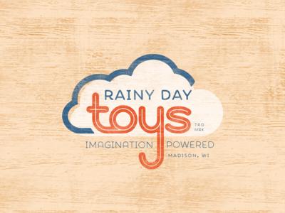 Rainy Day Toys Logo antique vintage wood distressed day rainy toys logo