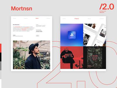 Mortnsn 2.0 visual identity red portfolio clean minimal