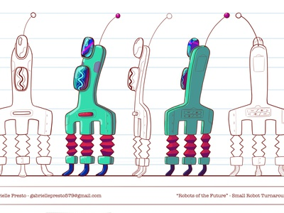 SMALL ROBOT PROP DESIGN TURNAROUND character design prop design visual development illustration cartoon illustration