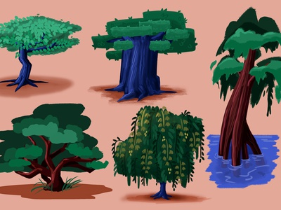 UNIQUE TREE DESIGNS prop design background design visual development illustration cartoon illustration