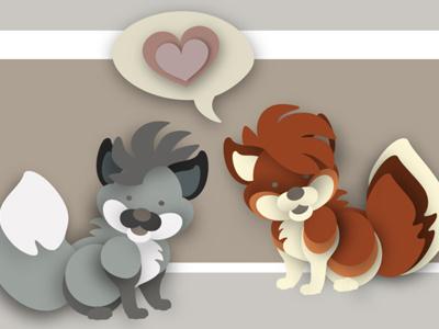 Kitschy Critters.  illustration vector animals fox wolf