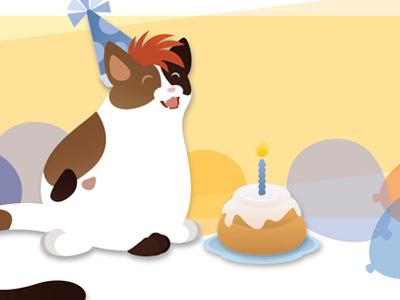 Mr. Cat's Cinnamon Roll.  birthday card gift illustration vector cell shading cat