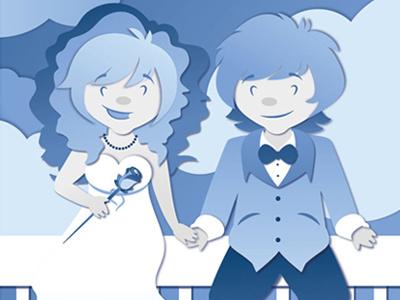 Our Blue October. invitation graphic design illustration wedding