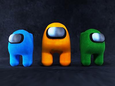 Among Us- 3D blue green design orange render vray 3ds max modelling 3d