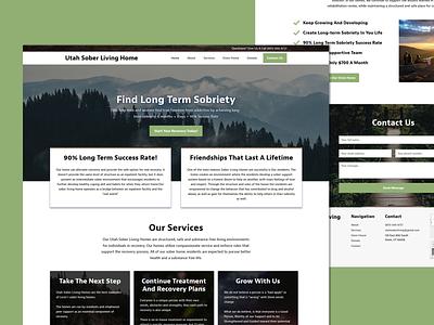 Sober Home Living Landing Page gooddesign green brown square website design marketing functional landing page design homepage webdesign landingpage