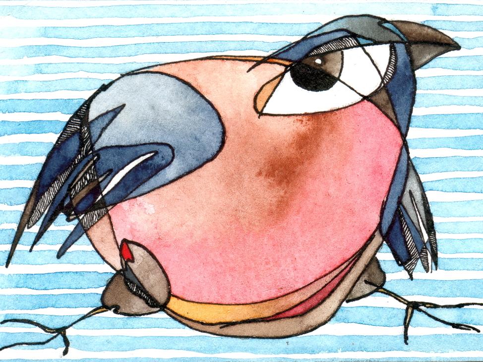 Skating Bullfinch ACEO. 2015 watercolor art miniature bird illustration ink watercolors watercolor atc aceo