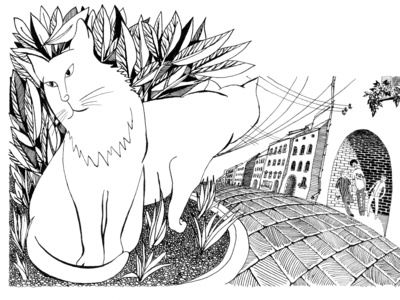 2 cats vs. bullies. Book illustration.
