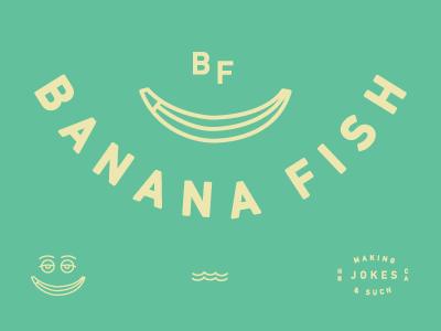 Banana Fish icon fish banana logo type water ha green smile waves