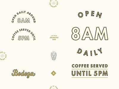 Bodega: Hours, etc. circa noon hours gold type signage branding wine bar bodega