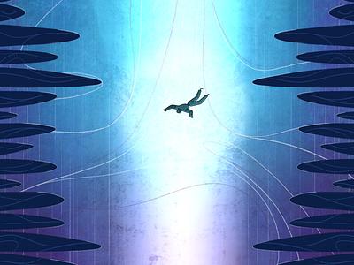 Into the Blue rowena sheehan falling rocks magic sci-fi line art texture into the blue short film animation illustration