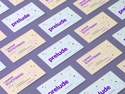Business card for Prelude architecture engineering architect system automation design identity corporate logotype branding grid shape logo business card