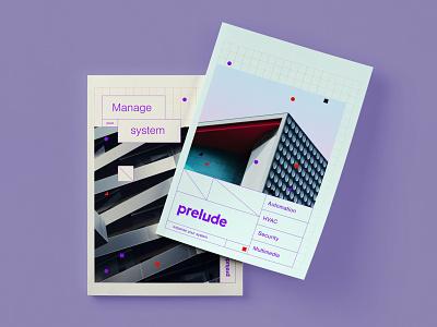 Leaflet cover for Prelude mockup print leaflet branding cover magazine grid system automation design logotype logo