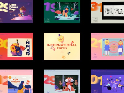 International days month layout epic agency emoji animation swipe slide webgl gallery year international day calendar epic illustration design website