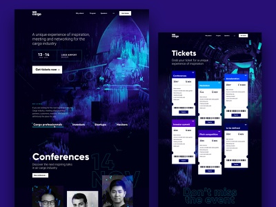 wecargo - website logo branding conference web layout design event talk speakers tickets airport webgl website layout design