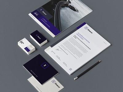 zinacor - stationery guidelines branding business cards logo brochure logotype brand identity brand design mockup stationery print