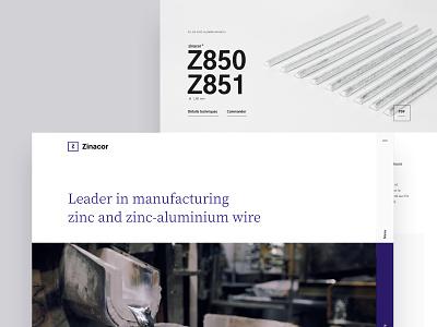 zinacor - website web design website baseline quote homepage minimal clean branding corporate industry design layout