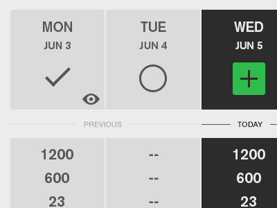Week View calendar week flat