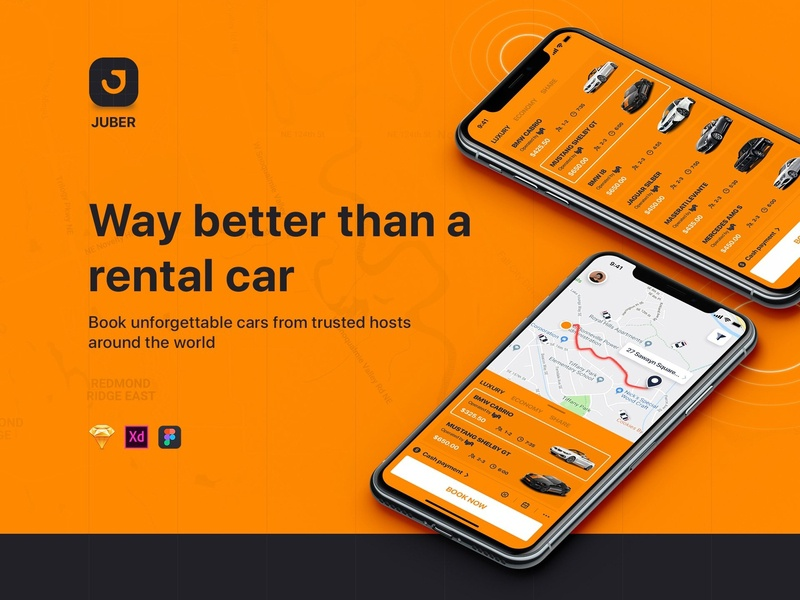 JUBER - Car rental mobile UI Kit material sign feed chat message form ui kit mobile ui ui profile sign in signup social