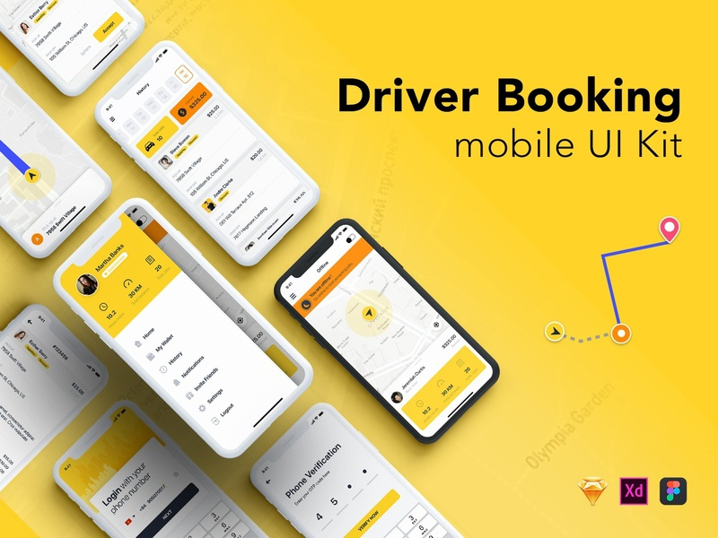 Driver Booking UI Kit for Taxi taxi app booking app driver app material sign feed chat message form ui kit mobile ui ui profile sign in signup social