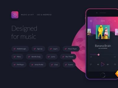 Music UI/UX Mobile App Kit