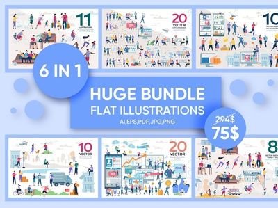 Huge Bundle Flat Illustration