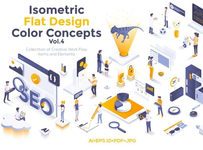 Modern isometric illustration kit