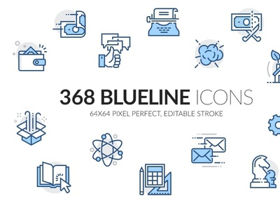 Blueline icons set