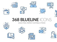 Blueline icons set