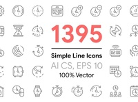 1395 Simple Line Icons Pack