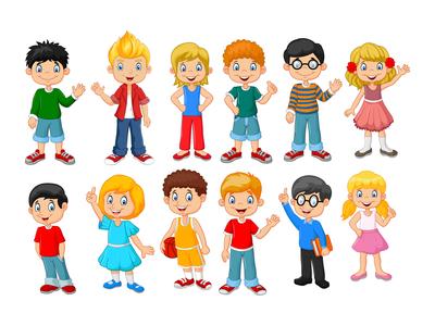 Happy children character