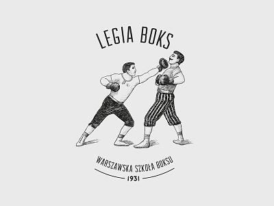 Legia Boks dribbble logo branding identity blackandwhite illustration drawing typography art direction debut invitation vintage