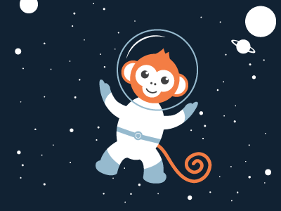 Space Monkey Steeeeve design monkey space monkey vector graphic orange space space suit graphic design