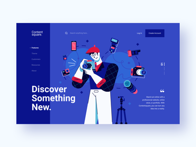 Contentsquare - Header Exploration 1 products discover passion purple product influencer website creator flat design vector ux photographer website concept lifestyle landing page header website character design ui character illustration