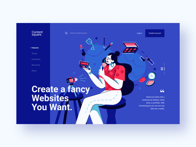 Contentsquare - Header Exploration 2 minimalist influencer purple passion product header makeup landing page website concept website lifestyle discover ux character design character web vector illustration flat design ui