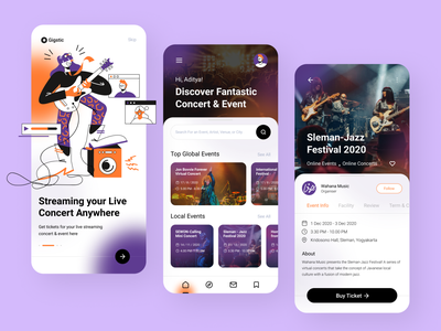 Gigstic - Concert Ticket App gigs exploration streaming band mobile event festival music mobile app ticket concert ticket concert design ux character design character vector illustration flat design ui