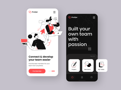ProQer - Team Network Mobile App network company project work task application startup strategy bussiness management teamwork onboarding team mobile app character design ux character illustration flat design ui