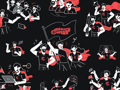 COUP Movement - Illustration Assets superhero vector illustration dark mode style comic creative presentation leadership teamwork team landing page design website ux web character design character illustration flat design ui