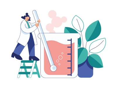 Chemical Laboratory experiment 1 scientist flat design ui vector laboratory character design character illustration