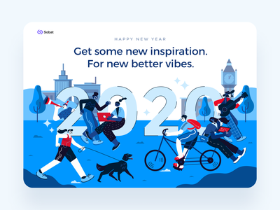 New Year 2020 - Illustration color city garden digital ux header landscape illustration inspiration holiday happy new year blue landing page 2020 trend 2020 new year flat design ui character design character vector illustration