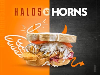Halos vs. Horns sandwich shop pittsburgh pa devil angel halos vs horns deli fish sandwich lent sandwiches restaurant
