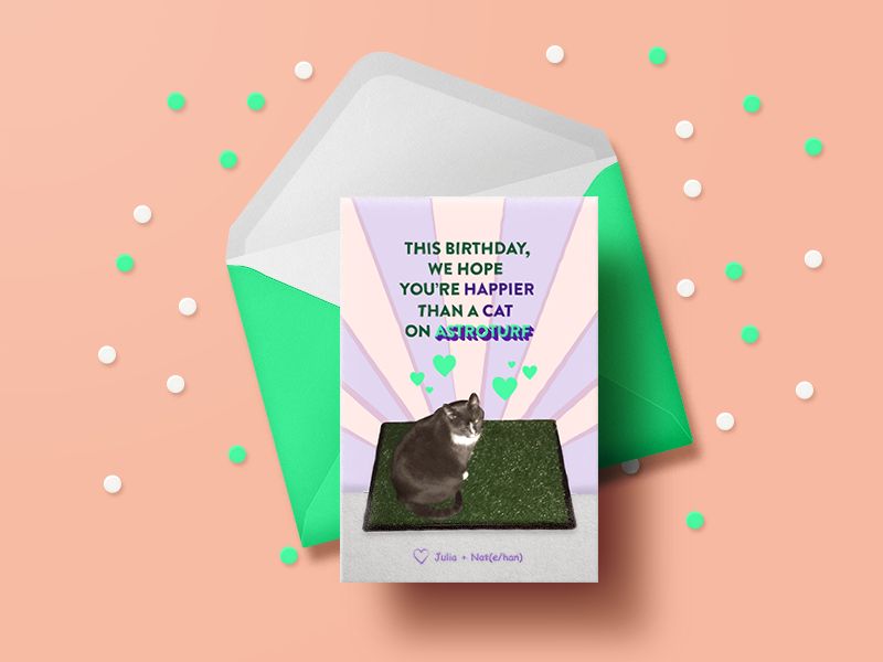 Happier Than A Cat On Astroturf Dribbble procrastination random for fun bigbilly 90s cat birthday card