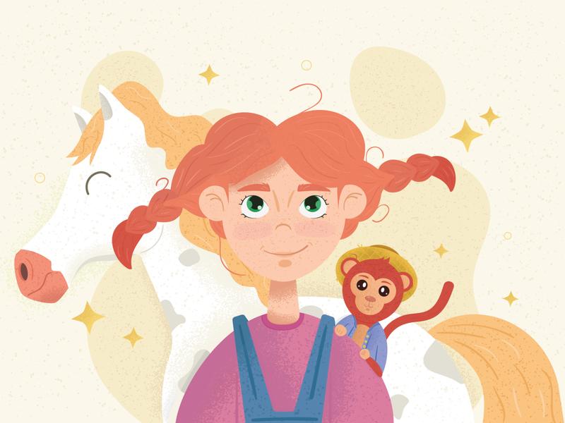 Pippi Longstocking redhead noise horse monkey fairytale girl longstocking vector illustration design