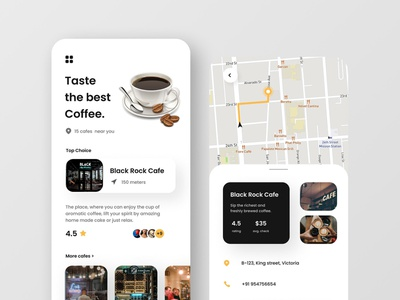 UI/UX | Cafe Finder App Concept typography logo minimal interface illustrator illustration graphic design design branding app