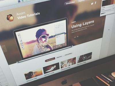 Acorn Videotuts website concept website concept ui acornapp sketchapp .sketch .acorn