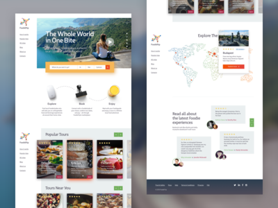 Foodietrip WIP cards map travel trip food webdesign design typography material flat ui web
